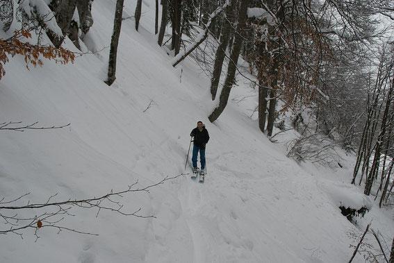 In der steilen Querung nach dem Forstweg