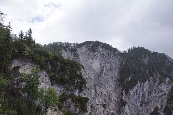 Blick über steile Felsen und wilde Gräben zum Ciprnik (Variante a)