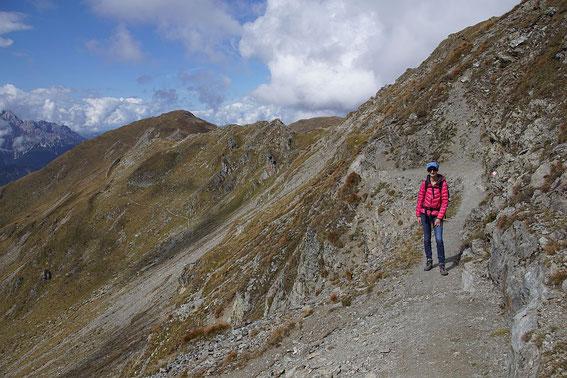 Querung südlich der Hollbrucker Spitze mit dem Hornischegg im Hintergrund
