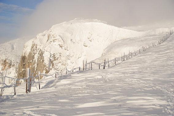 Die Aufstiegsroute führt einige Zeit entlang der Dobratsch- Südkante