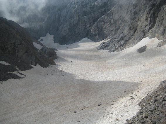 Blick vom unteren Ende der Gletscherzunge hinauf zum Wandfuß