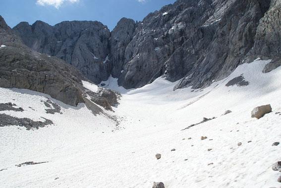 Blick durch den Trog der Gletscherzunge zum Wandfuß