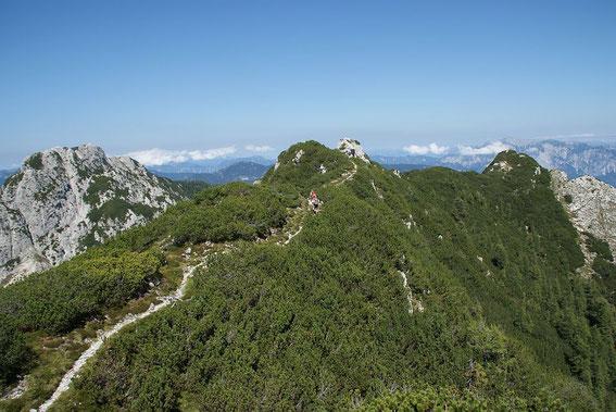 """Der """"Höhenweg"""" nach Norden, links die Cinque Punte"""