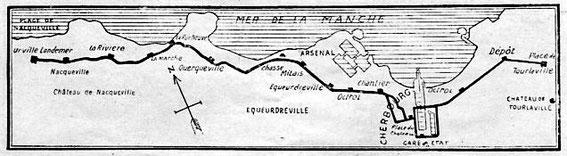 Carte du tramway de Cherbourg entre Urville et Querqueville