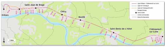 Ligne Orléans-Chateauneuf (tracé et nouvelles gares