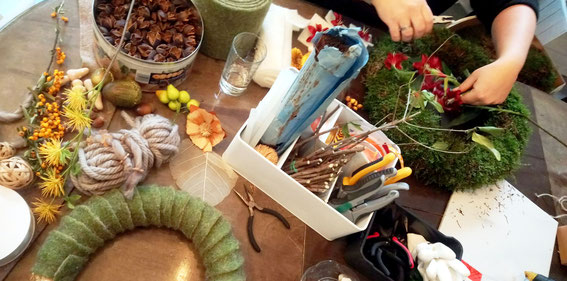 Workshop, Herbstkranz, Workshops, Kreativworkshops, kreativ, Basteln, Hobby, Freizeit, Bastelworkshops, Geburtstagsbeschäftigung, Incentives, Gestalten