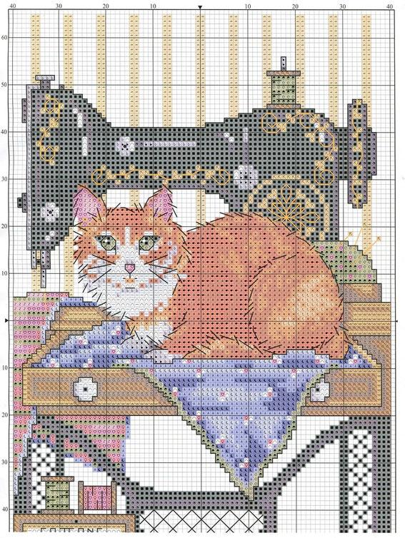 схема вышивки  животных кота мышки ежика собаки