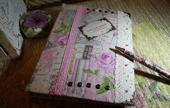 тетрадь, скрапбукинг,  вышивка, кружево, шебби шик, ручка, писать лен