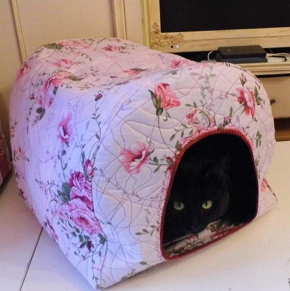 Домик для кота, шить своими руками, выкройка домика для кота