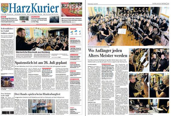 Harzkurier, 02.06.2016 auf der Titelseite und eine komplette Seite 3 - vielen Dank!