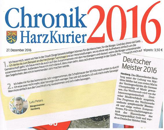 Chronik 2016, Harzkurier