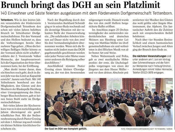 Harzkurier, 30.04.2019 Auftritt der Blaskapelle in Tettenborn