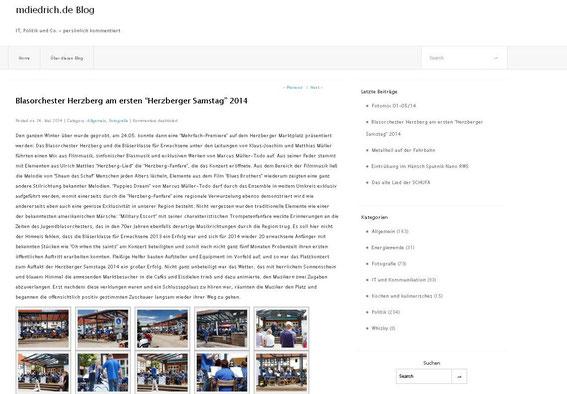 Link zum Beitrag über den Herzberger Samstag 24.05.2014 bei Martin Diedrich
