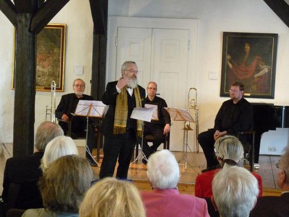 Neue Räume im Herzberger Schloss eingeweiht 01.04.2012  -Posaunentrio des Blasorchesters (Foto: Paul Beier)