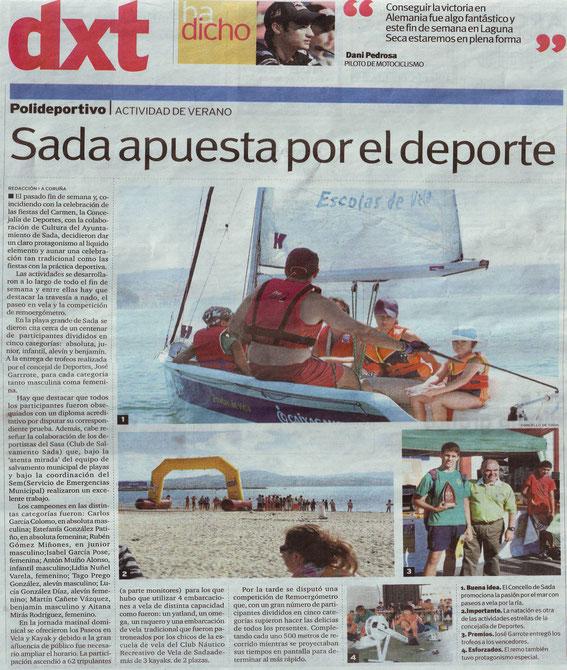Contraportada del periódico DXT del 22 de julio de 2010