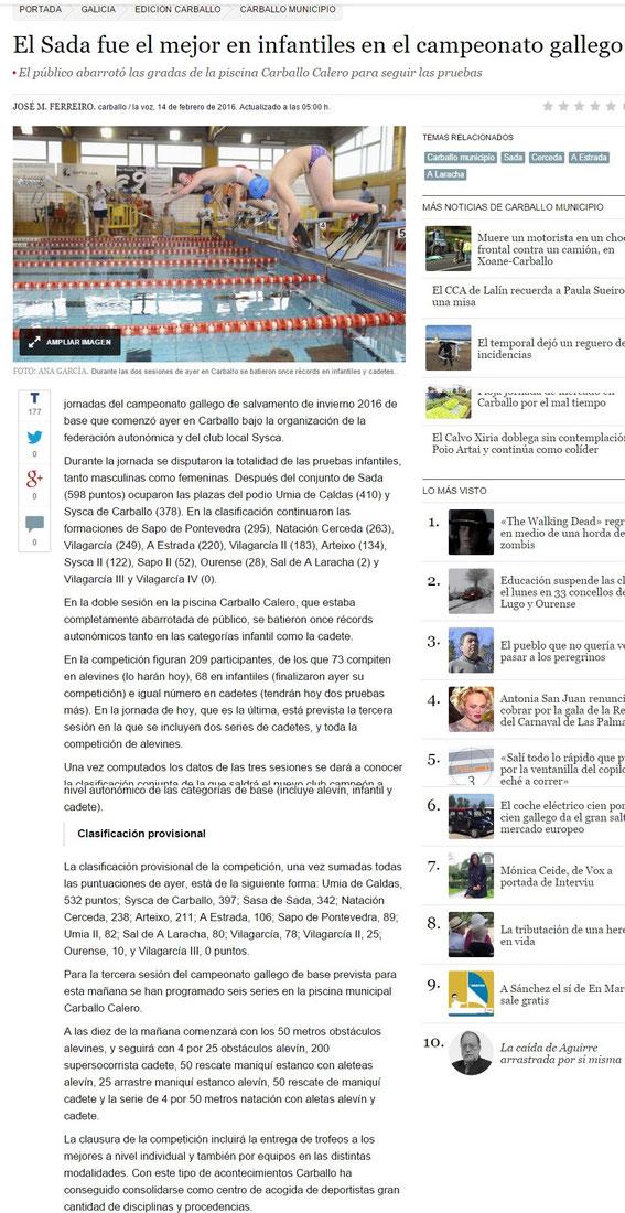 La Voz de Galicia 14 -02-16