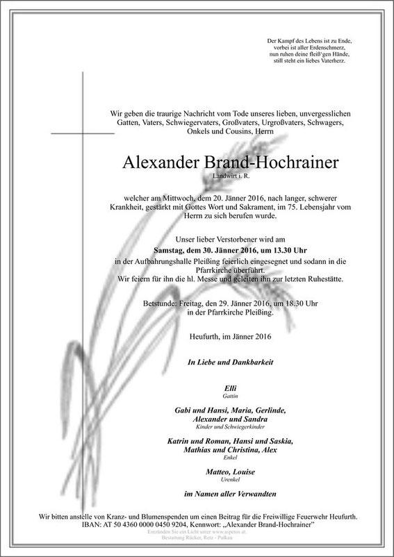 Traueranzeige Alexander Brand-Hochrainer