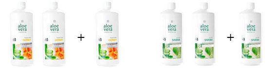 Une bouteille de boisson aloe vera miel ou sivera offerte pour l'achat de deux