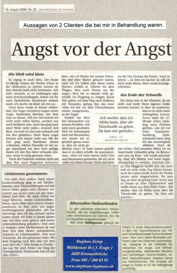 Zeitungsbericht - Heilhypnose in Emmenbrücke - Stephan Zemp