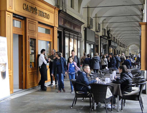 Open air cafe under the arcades