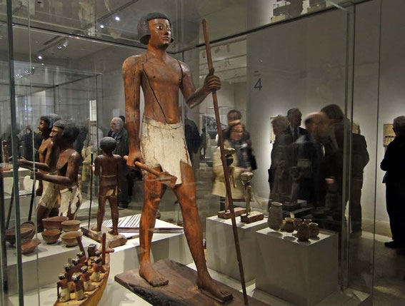 An almost life-sized wooden statue of the Middle Kingdom (roughly 2000 B.C.). The Museo Egizion is also famous for its ancient wooden statues.