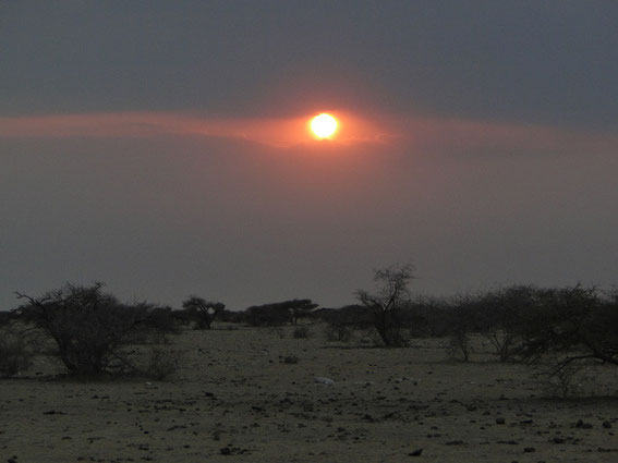 The sun rose slowly and hidden by dust.