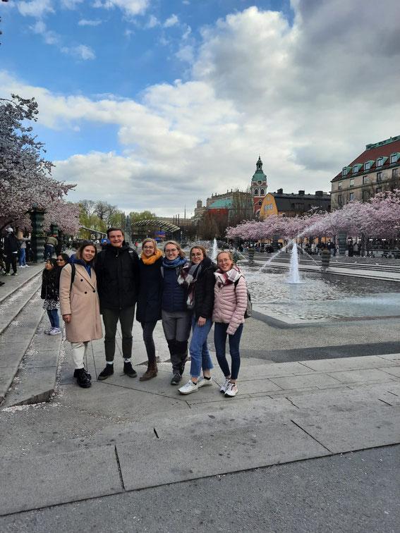 Kirschblüte am Kungsträdgården in Stockholm (v.l.: Eva, Konrad, Inga, Sonja, Clarita, Hannah