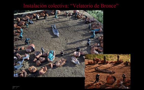 """Instalación """"velatorio de bronce"""". 2004"""