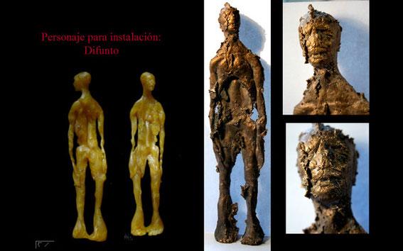 """Participación en Instalación colectiva """"velatorio de bronce"""" con la pieza """"difunto"""". 2004"""