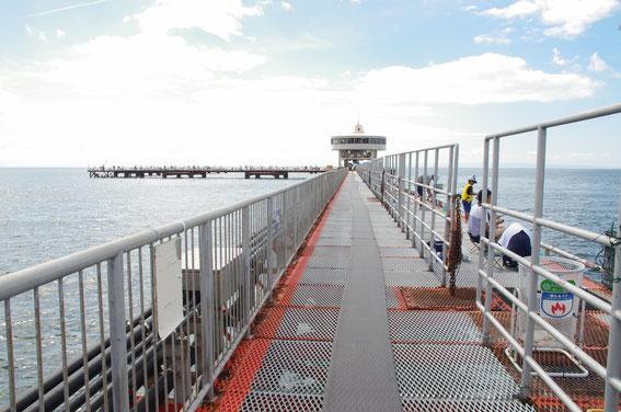 公営の海づり施設としては日本最古の歴史を誇る「須磨海づり公園」を、沖向きに望む。明石海峡に近い第1級ポイントに位置し、沖合400メートルまで桟橋が続く。魚が寄らないはずのない、素晴らしい環境。立地上、潮が速いのが大きな特徴。車は、山陽電鉄須磨浦公園駅のロータリー内西側にある駐車場に止める。地下道で国道2号線の下をくぐると、受付に出ることができる