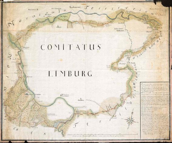 Grenzen der Grafschaft Limburg, 1734 / LAV NRW  W Karten A Nr. 7105