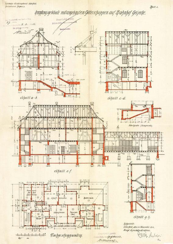 Schnittzeichnung des Empfangsgebäudes