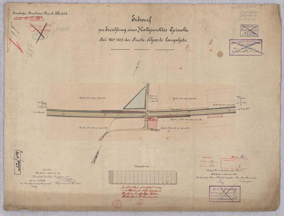 Lageplan der Haltestelle von 1890, LAV NRW R BR 1213 00349