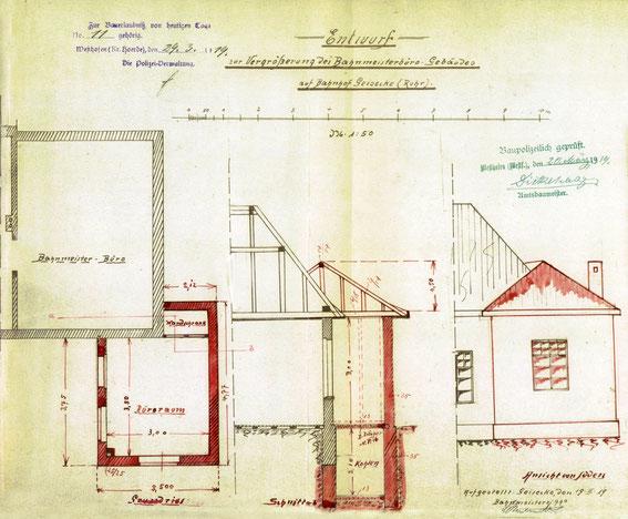 Entwurf der Erweiterung des Bhnmeisterbüros.