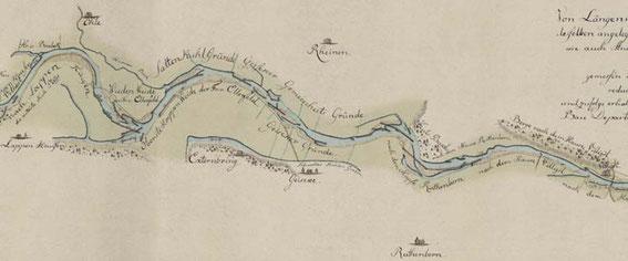 © GStA PK, XI HA, D 50327; Die Ruhr bei Geisecke 1778 [Ausschnitt einer Karte zur Schiffbarmachung der Ruhr]
