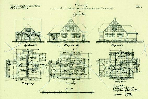 Plan des Bahnmeisterhauses (wurde noch geändert).