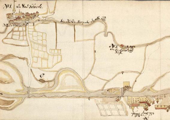 Ruhrtal bei Schwerte [Ausschnitt aus der Karte von 1719] © GStA PK; II HA Gen. Dir., Abt. 19 Mark, Tit. XXXII Nr. 13, S. 36