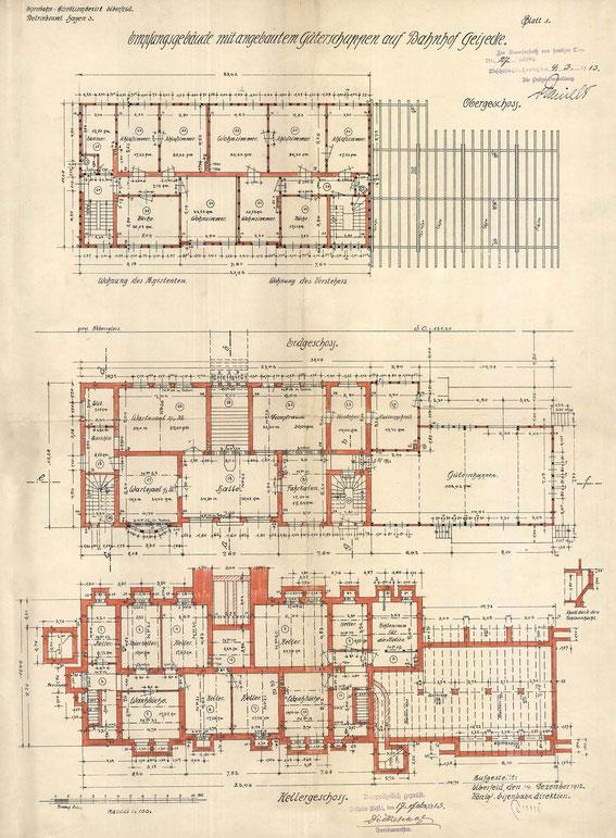 Grundrisse des Empfangsgebäudes