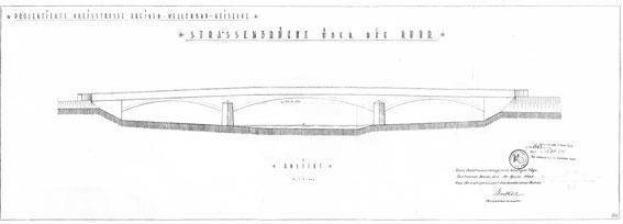 Die Bauzeichnung der Ruhrbrücke von 1928