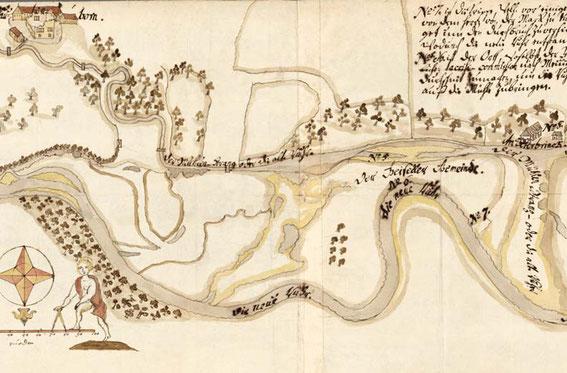 Ruhrtal bei Geisecke[Ausschnitt aus der Karte von 1719] © GStA PK; II HA Gen. Dir., Abt. 19 Mark, Tit. XXXII Nr. 13, S. 36