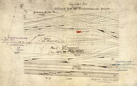 Lageplan des Stellwerks Geisecke Nord-West