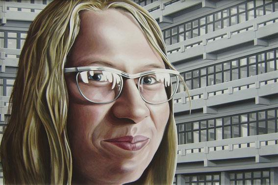 Studentin; oder die Mona Lisa des Reviers, 1975, Acryl auf Holzplatte, 100/150 cm.