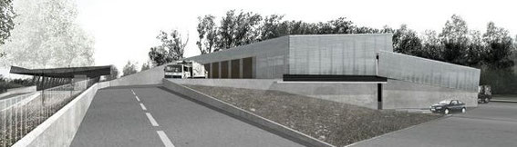 2003 - Déchetterie et centre de transit de déchets-Lunéville (54) Concours -associé à Chevallier-Garruchet architectes mandataires - MO: COM.COM du Lunévillois Surface: Centre de tri: 4 000 m² (dont 1 000 m² SHON), déchetterie: 3 000 m²) Budget: 2,8 M€ HT