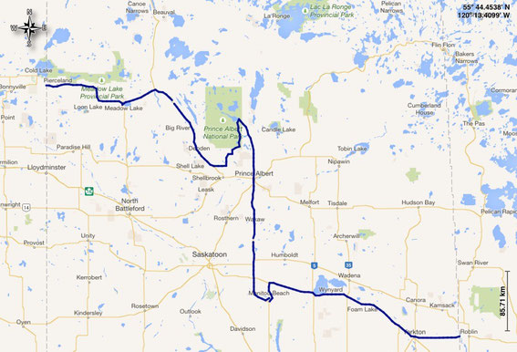 gefahrene Route durch Saskatchewan