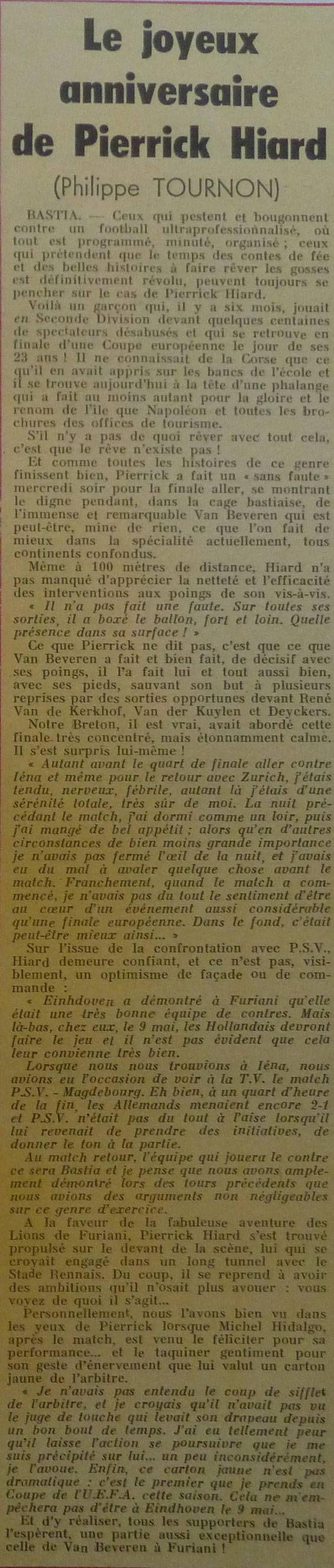 France Football pour les articles précédents .