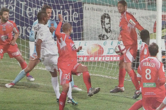 Le but Cannais inscrit par Wague ( Photo Corse Matin)