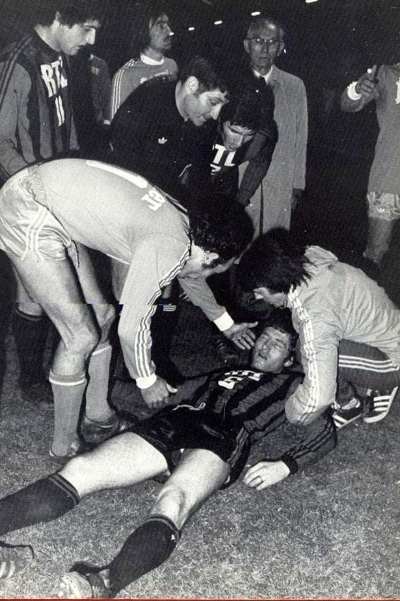 Incidents à FURIANI lors du match retour face à NICE . Dario GRAVA atteint par un projectile.