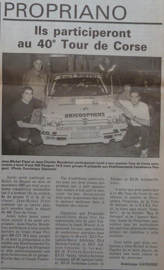 Son Premier Tour de Corse en 1996