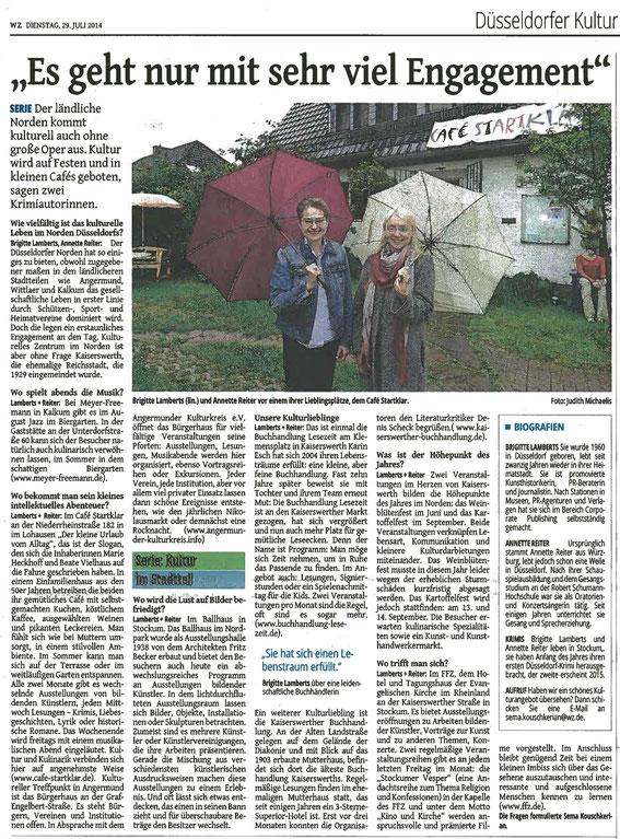 Westdeutsche Zeitung vom 29. Juli 2014, Ausgabe Düsseldorf, Seite Düsseldorf Kultur und Bildung