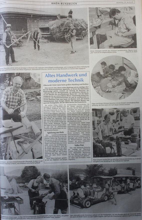 Berichterstattung zur 1200-Jahr-Feier von Oberweid 1995